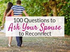 These 100 questions to ask your spouse are perfect conversations starters for married people! Reconnect with your spouse with these intimate, funny and romantic questions for husbands. Don't just ask about their day!